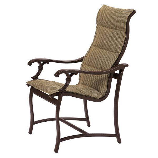 Tropitone Ravello padded sling high back aluminum dining chair