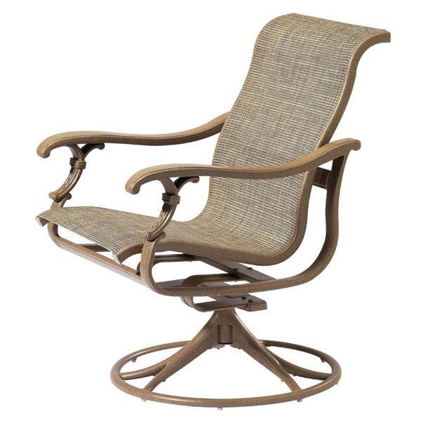 Tropitone Ravello Sling outdoor swivel rocker dining chair