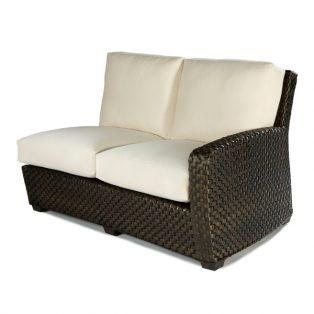 Leeward RHF wicker sectional loveseat with cushions