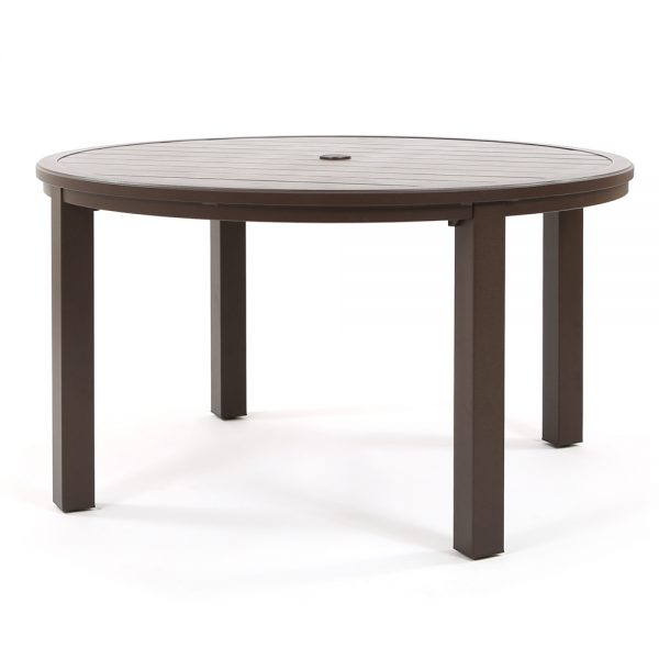 "Riva aluminum 54"" round slat top dining table"