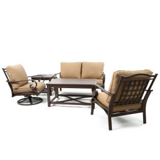 Riva outdoor 5 piece deep seating loveseat set with Canvas Brick cushions