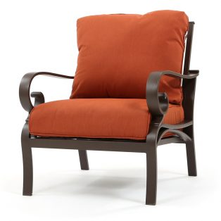 Riva outdoor club chair with Canvas Brick cushions