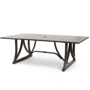 "Riva outdoor 84"" x 44"" rectangle slat top dining table"