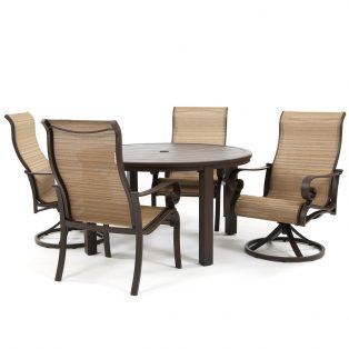 Riva sling aluminum 5 piece swivel rocker dining set