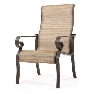 Riva high back sling aluminum dining chair