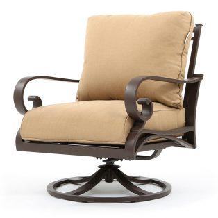 Riva aluminum swivel club chair with Spectrum Sesame cushions