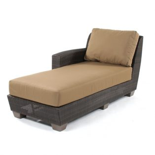 Saddleback Wicker Left Arm Face Chaise Lounge Sectional