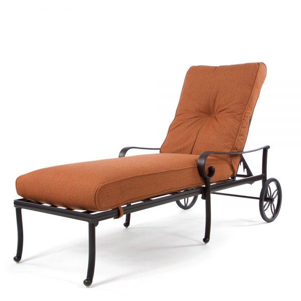 Santa Barbara adjustable chaise lounge with wheels