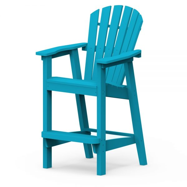 Shellback bar chair with a Pool finish