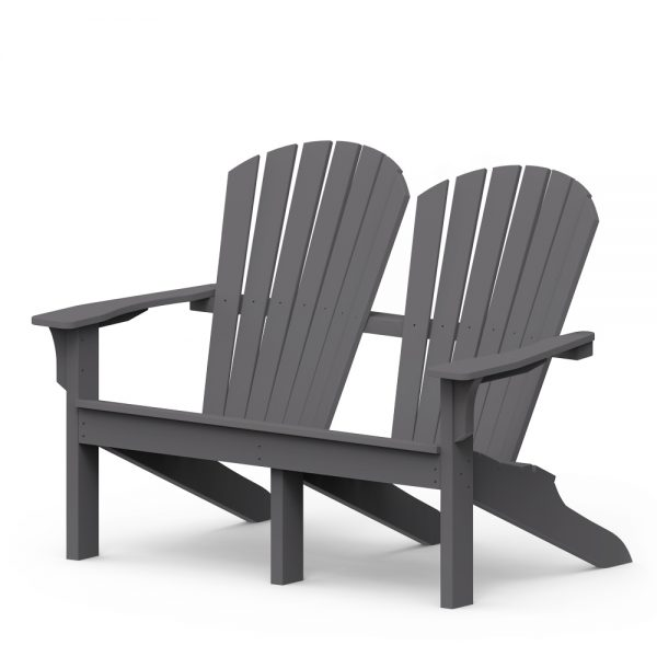 Shellback love seat with a Charcoal finish