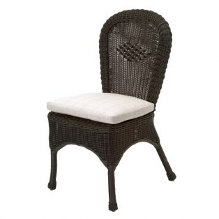 Classic Wicker dining side chair with seat cushion