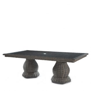 "South Hampton 46"" x 96"" double pedestal dining table with glass top"