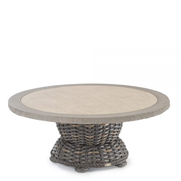 """South Hampton 42"""" round pedestal coffee table with stone top"""