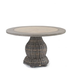 South Hampton woven pedestal dining table with stone top
