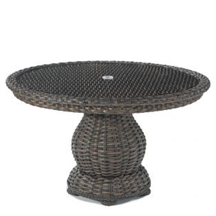 South Hampton woven pedestal dining table with glass top