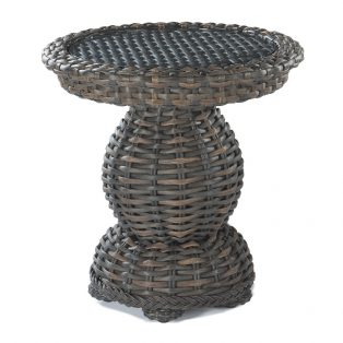 South Hampton woven pedestal end table with glass