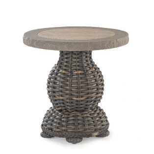 "South Hampton 24"" round end table with stone top"