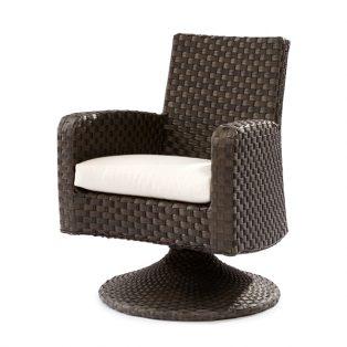 Leeward wicker swivel game chair with cushion