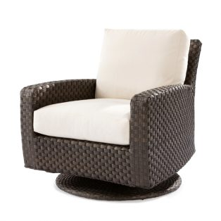 Leeward swivel gliding wicker lounge chair with cushion