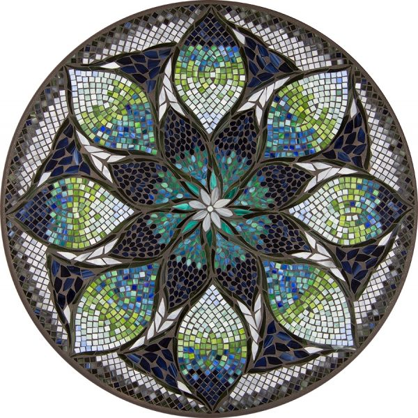 "Belcarra outdoor mosaic 42"" round table top - Available in multiple sizes and shapes"