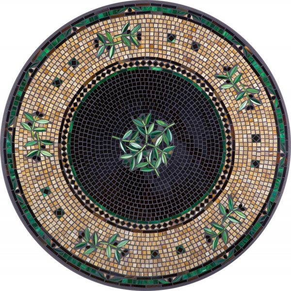 """Black Olives 42"""" round outdoor mosaic table top - Available in multiple sizes and shapes"""