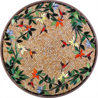 "Carmel Hummingbird 42"" round outdoor mosaic table top - Available in multiple sizes and shapes"