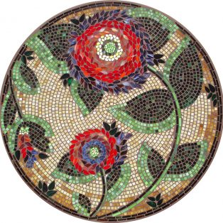 Dahlia outdoor mosaic table top - Available in multiple sizes and shapes