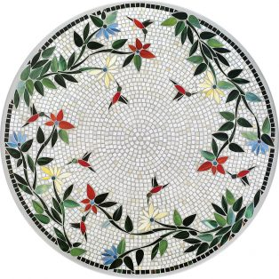 "Hummingbird 42"" round outdoor mosaic table top - Available in multiple sizes and shapes"