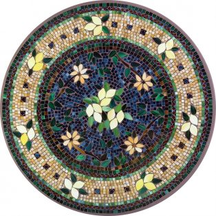"Tuscan Lemons 42"" round outdoor mosaic table top - Available in multiple sizes and shapes"