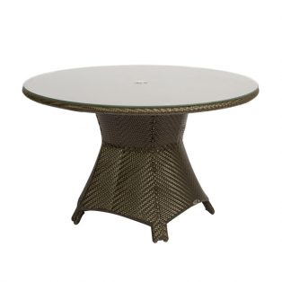 "Trinidad 48"" round wicker dining table from Woodard"