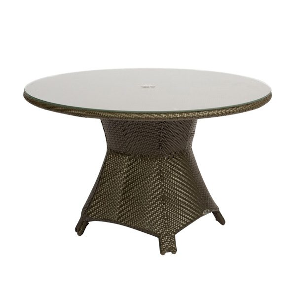"""Trinidad 48"""" round wicker dining table from Woodard"""