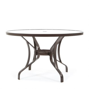 "Tropitone 48"" round obscure glass top dining table"