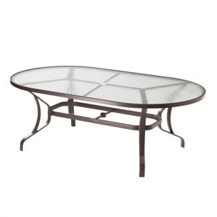 "Tropitone 42"" x 84"" oval obscure glass top dining table"