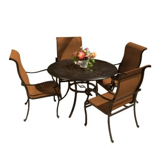 Valbonne sling outdoor dining set with 4 dining chairs