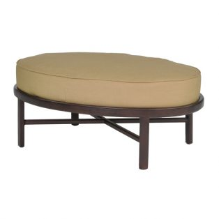 Veracruz oval ottoman with Gold Walnut finish and Crepe Brass fabric