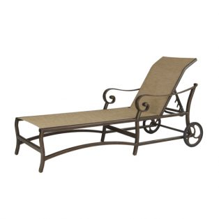 Veracruz sling adjustable chaise lounge with wheels