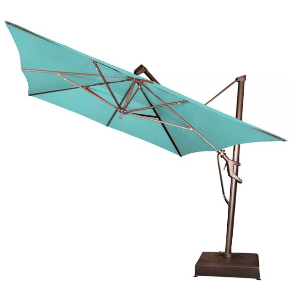 10' x 13' rectangle cantilever umbrella tilted back
