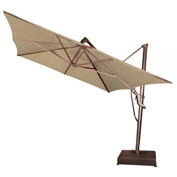 Treasure Garden 10' x 13' rectangle cantilever umbrella tilted back