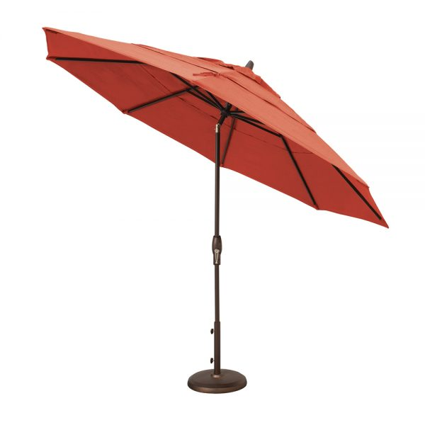 Treasure Garden 11' auto tilt market umbrella with Jockey Red Sunbrella fabric