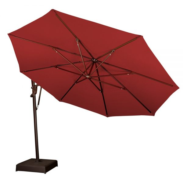 Treasure Garden 13' octagon cantilever umbrella rotated to the side