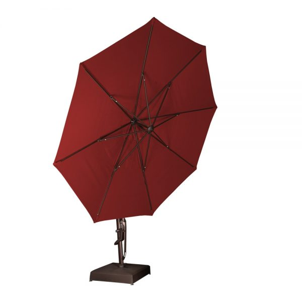 Octagon cantilever umbrella tilted all the way back
