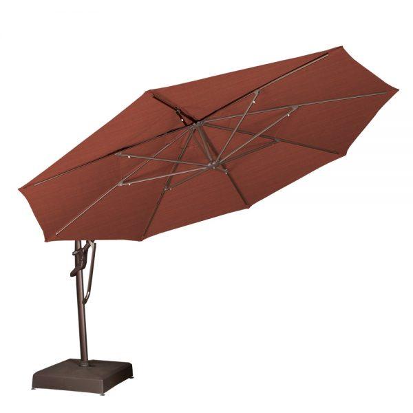 Treasure Garden 13' octagon cantilever umbrella tilted back
