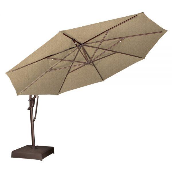 Octagon cantilever umbrella tilted back