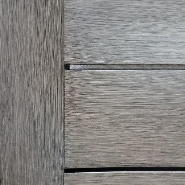Brushed driftwood aluminum frame finish