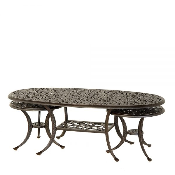 Hanamint oval coffee table with nesting end tables