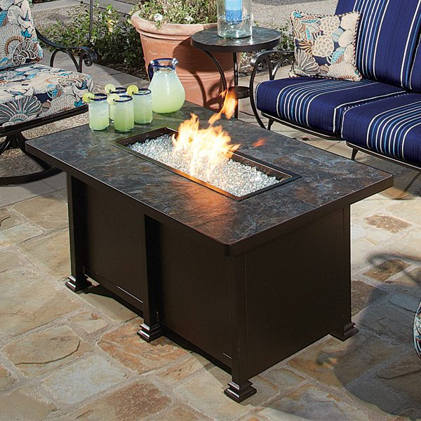 """OW Lee 36"""" x 58"""" rectangle chat height Santorini fire pit"""