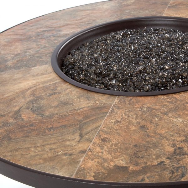 OW Lee Santorini fire pit with a Rustic Slate porcelain top