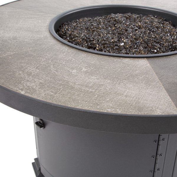 """42"""" round Santorini fire pit with an Graphite frame finish"""