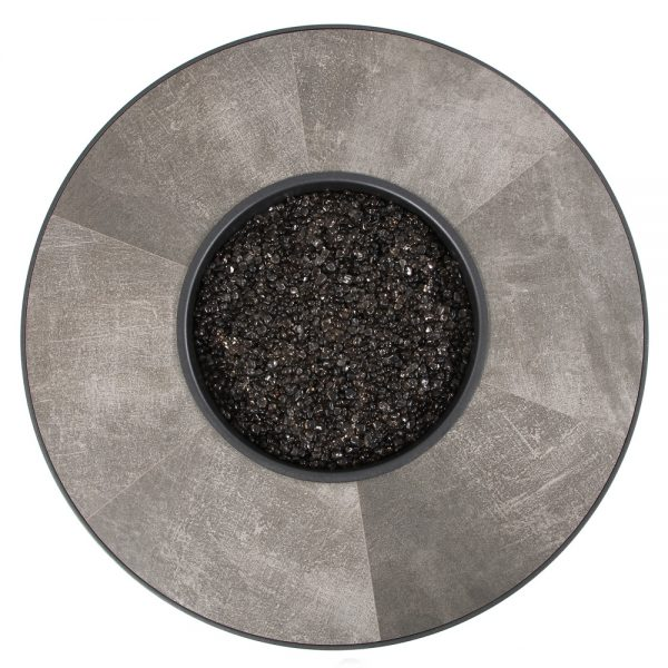 OW Lee Santorini fire pit with a Urban Effect porcelain top view