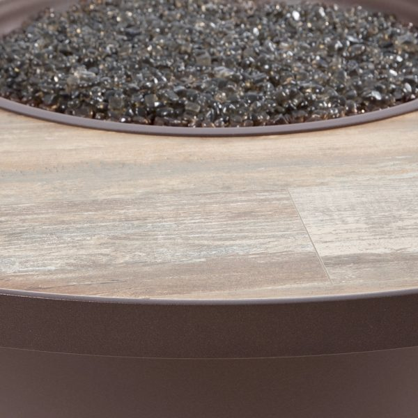 """42"""" round Santorini fire pit with an Rosewood frame finish"""